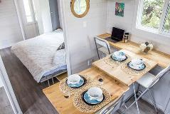 Inside of Tiny Home - Dining and Bedroom