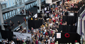 Crowds at a holiday shopping show